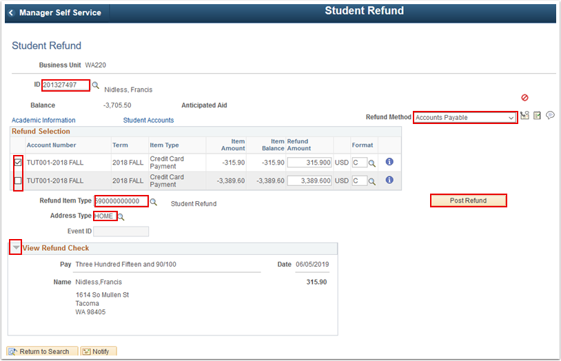 Student Refund page