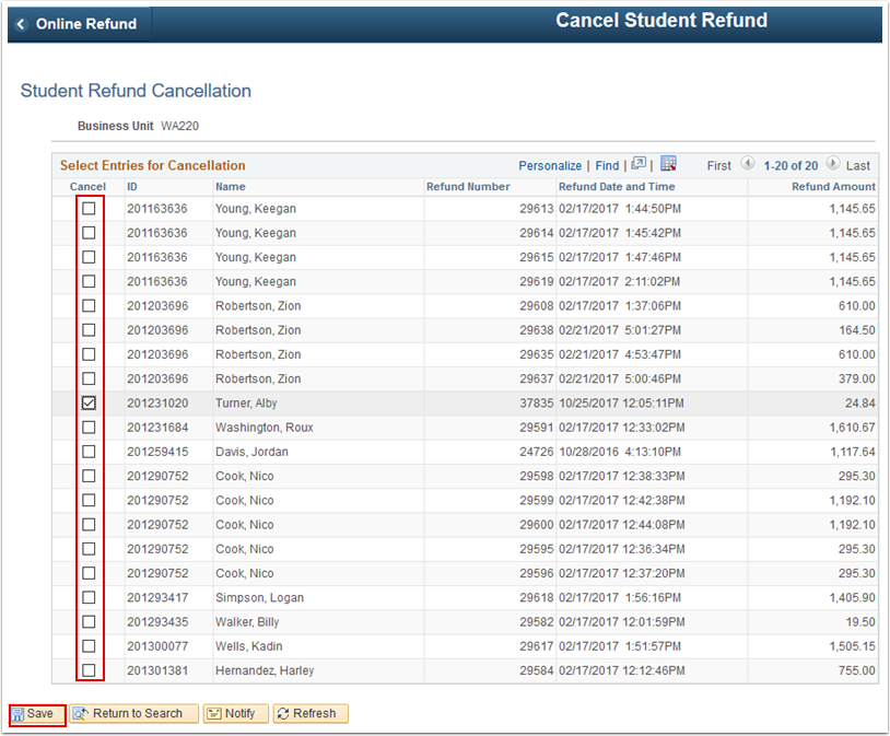Student Refund Cancellation page