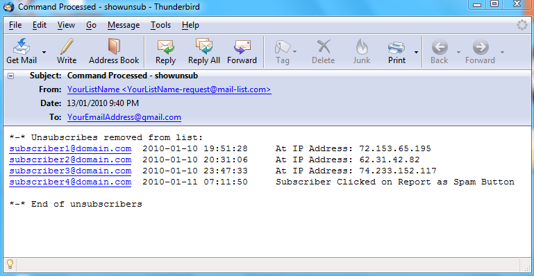 The following is an example of the report that you will receive at your email address: