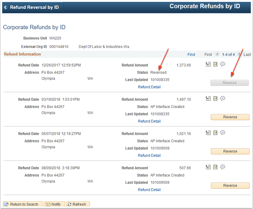 Corporate Refunds by ID page