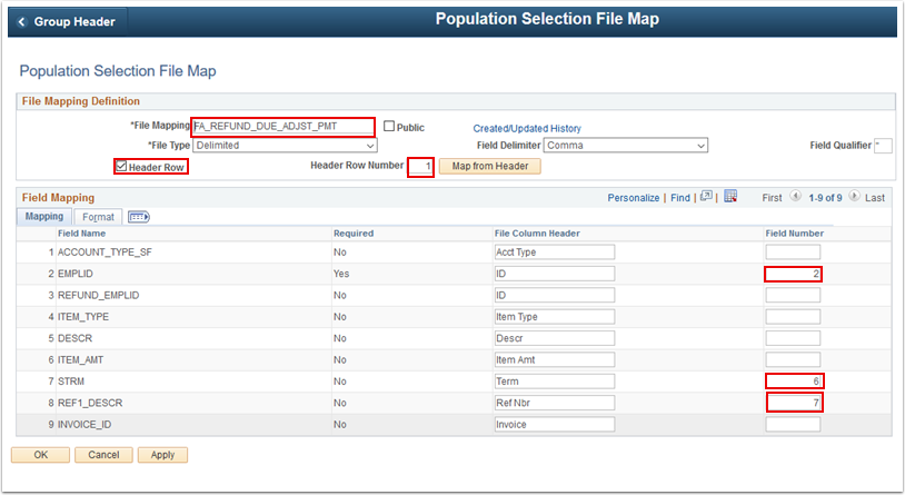 Population Selection File Map page