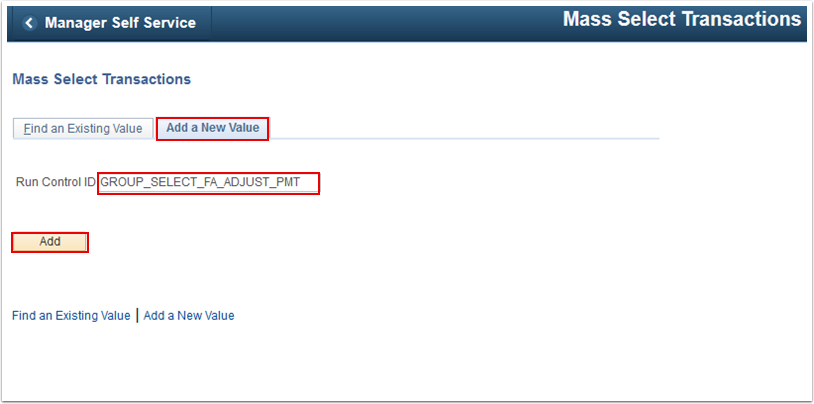 Mass Select Transactions Add a New Value tab