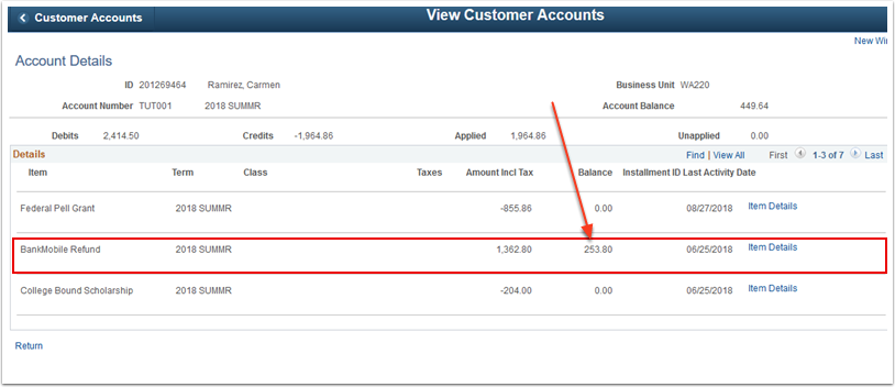 Account Details Bank mobile Refund example