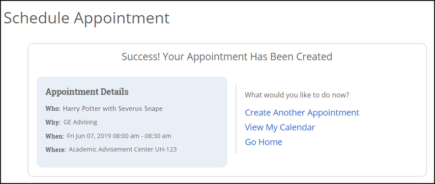 appointment confirmation screen