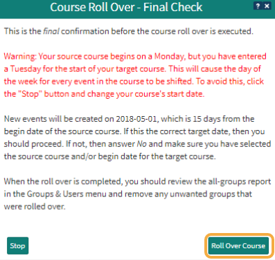 Step 6: Confirm the rollover process