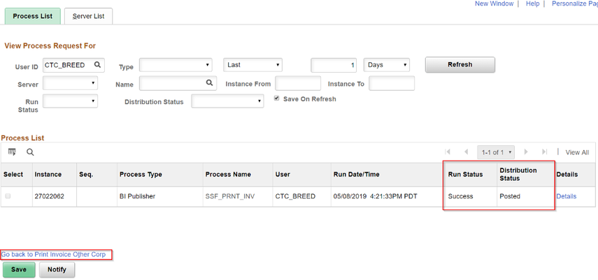 Image of the Process Monitor page with Go Back to Print Invoice Other Corp