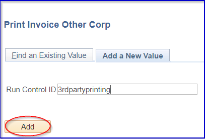 Image of Print Invoice Other Corp page with Add button highlighted