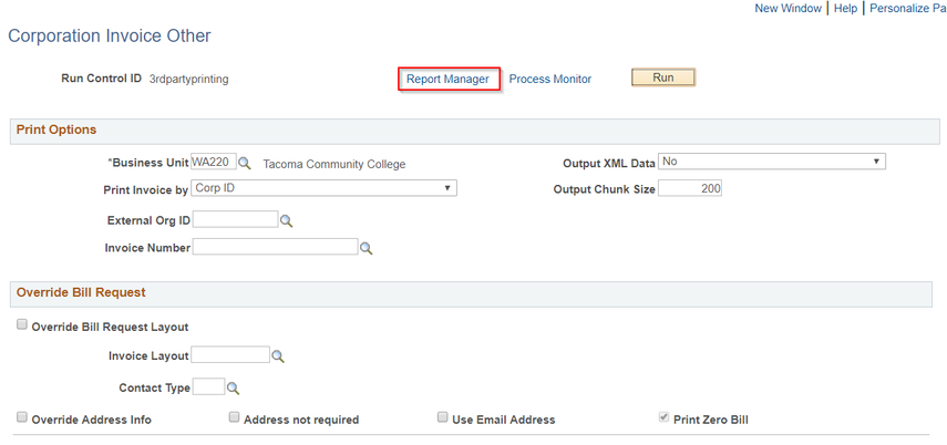 Report Manager link highlighted as instruction