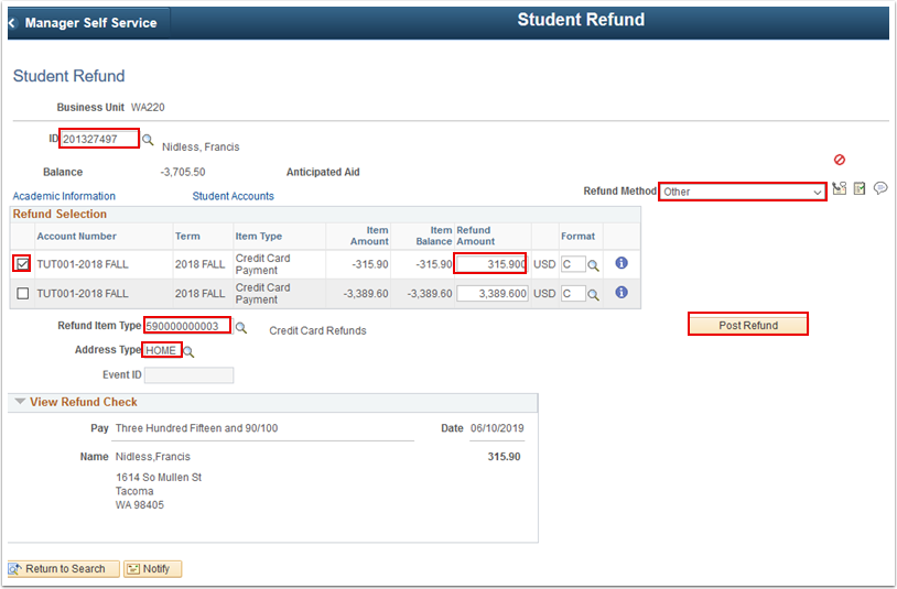 Student Refund page