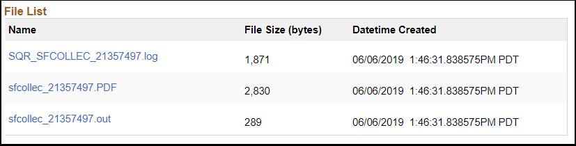 File List PeopleSoft page image