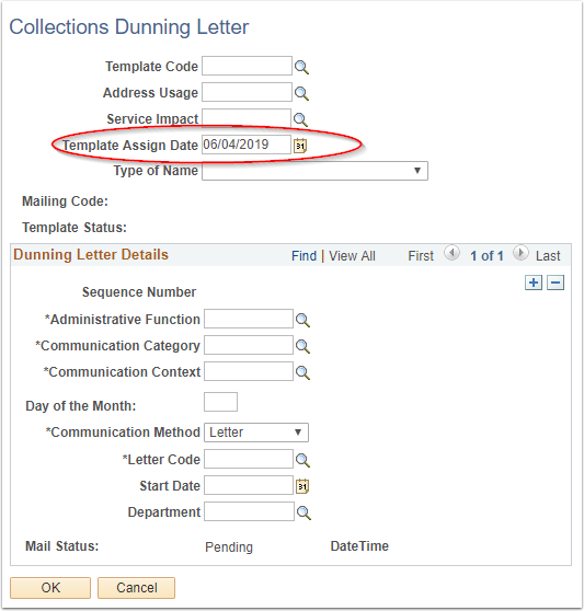 Dunning Letter PeopleSoft page image
