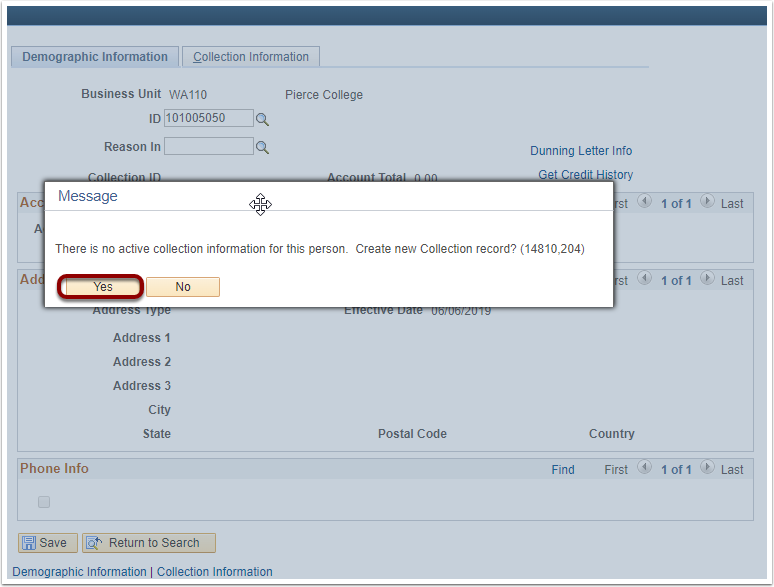 Collection Effort PeopleSoft page image