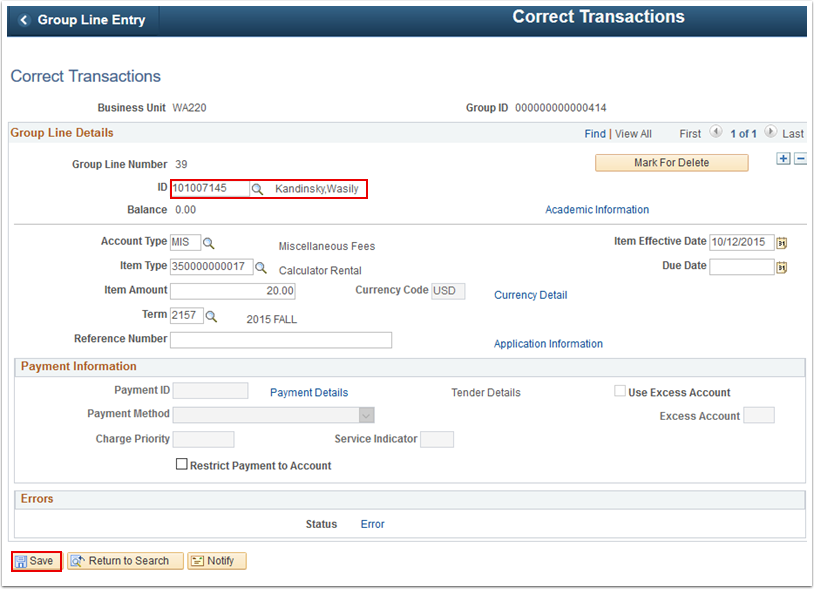 Correct Transactions page
