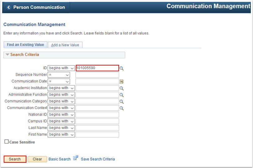 Communication Management search page