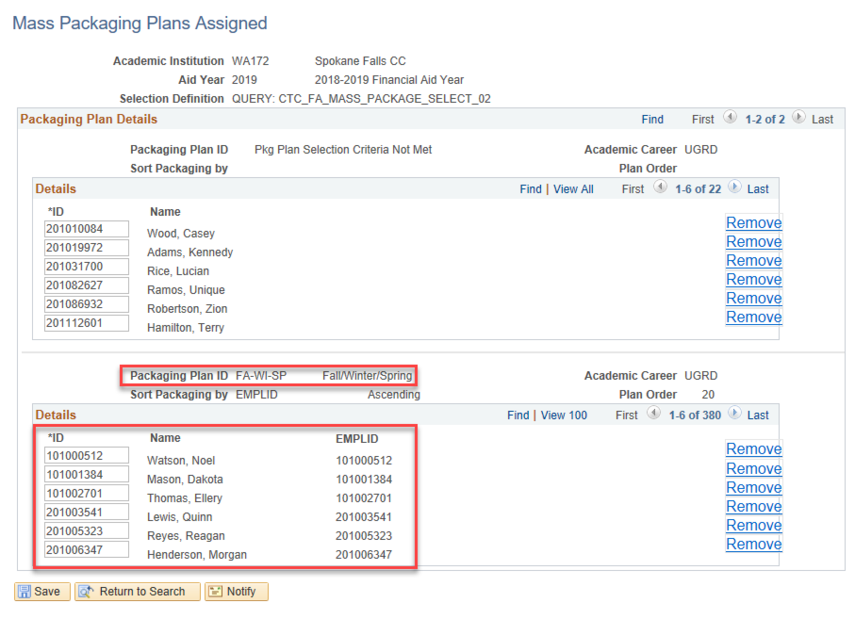 PACKAGING PLAN ID BY QUERY RESULTS