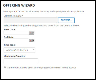 Offering Wizard page.