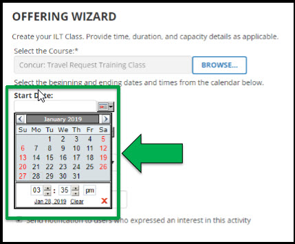 Green arrow pointing to mini popout calendar under Start Date.