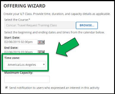 Green arrow pointing to Time Zone dropdown menu.