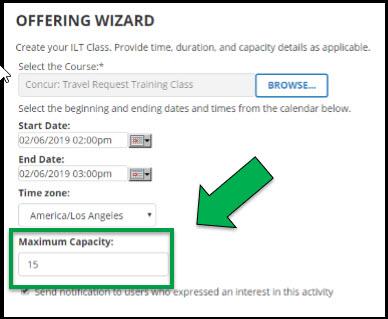 Green arrow pointing to Maximum Capacity field.