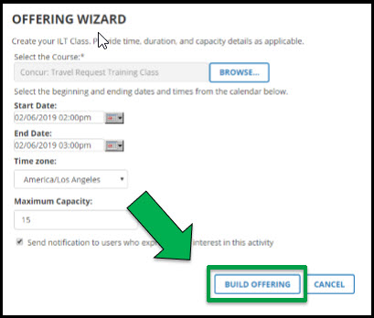 Green arrow pointing to Build Offering button.