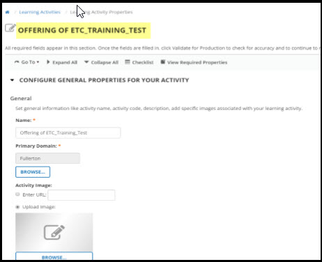 Learning Activity Properties page.