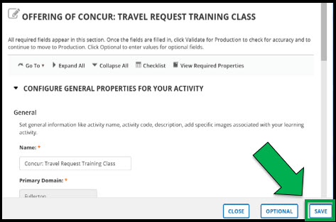 Learning Activity Properties page. Green arrow pointing to Save button.