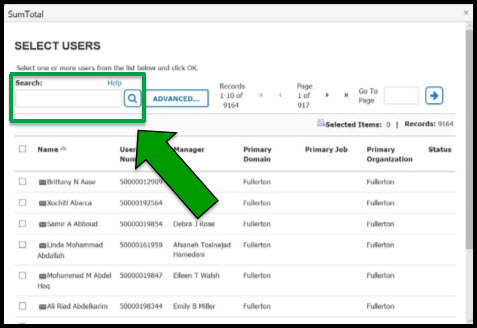 Green arrow pointing to box outlining Search field.