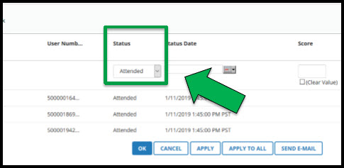 Green arrow pointing to box outlining Status heading and dropdown menu.