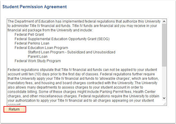 Student Permission Agreement page