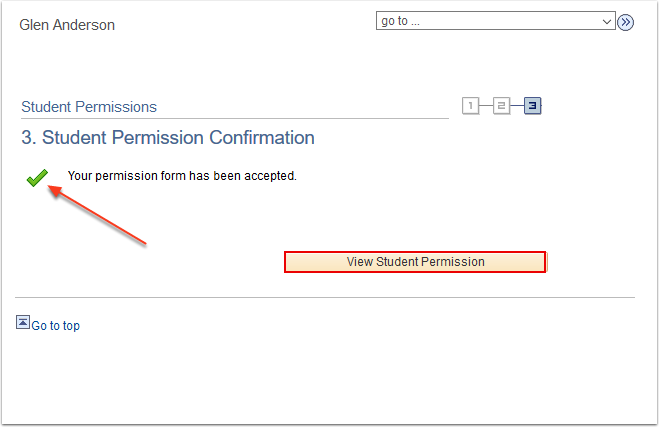 Student Permission Confirmation page