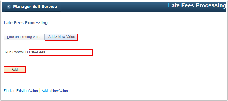 Late Fees Processing Add a New Value tab