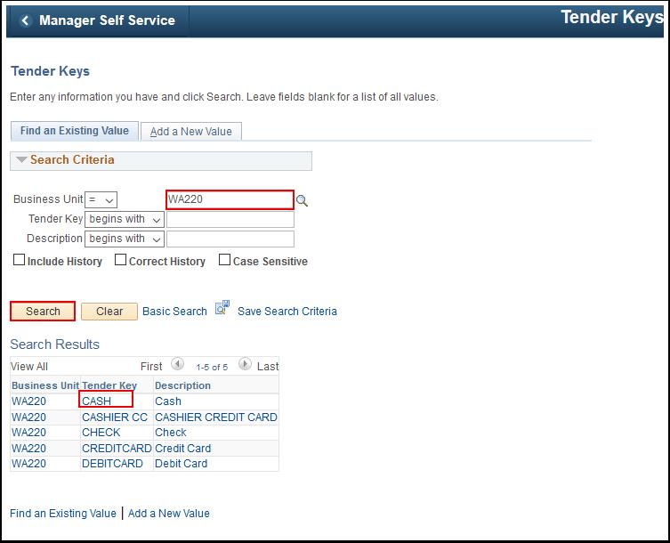 Tender Keys search page