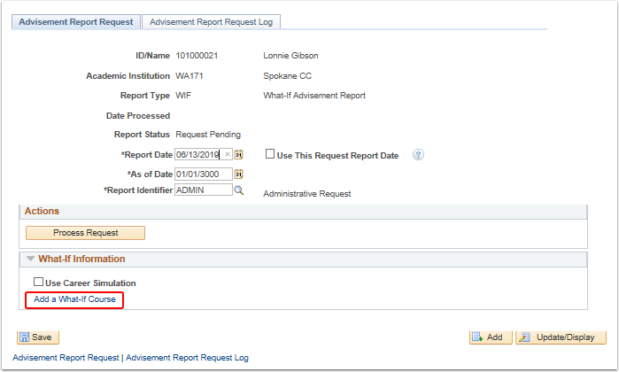 Advisement Report Request tab result