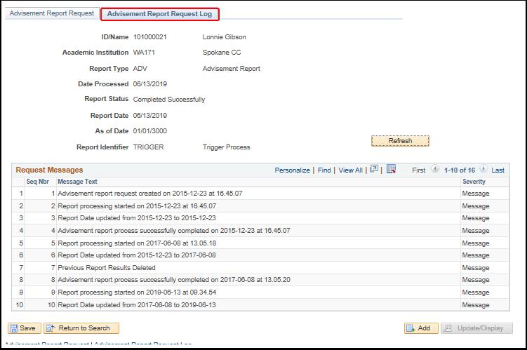 Advisement Report Request Log tab