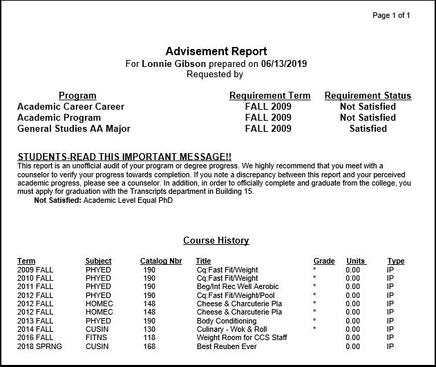 Advisement Report