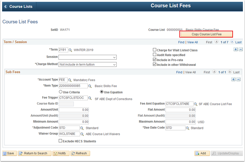 Course List Fees page