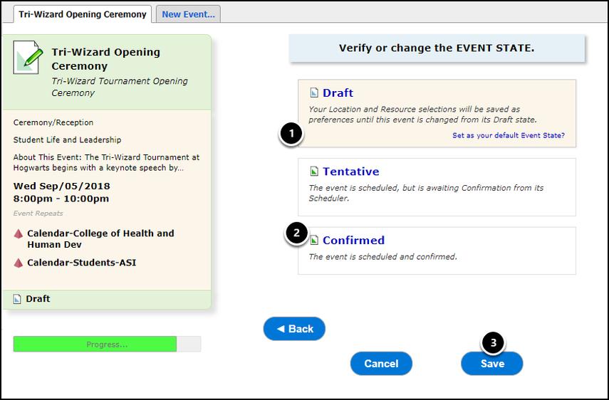 Verify event state