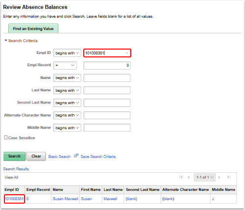 review absence balances search page