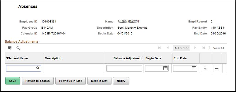 Adjust balances absence page