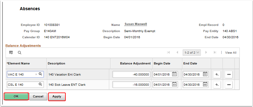 off cycle on demand absences page auto populate
