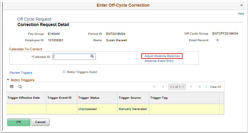 Enter Off-Cycle Correction pagelet