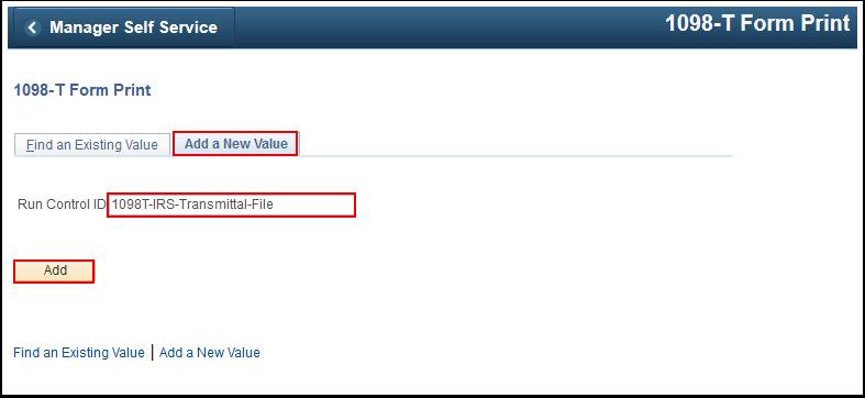 1098 T Form Print Add a New Value tab