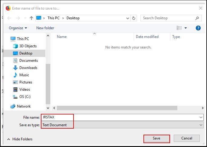 Save File window