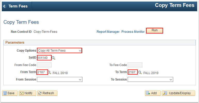 Copy Term Fees page