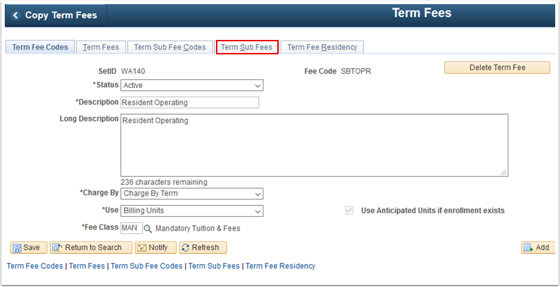 Term Fee Codes tab