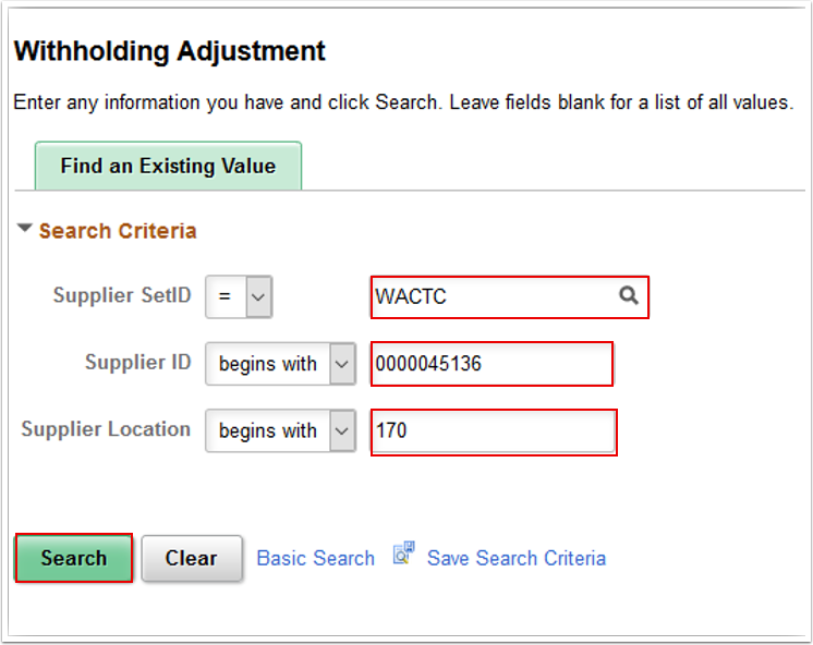 Withholding Adjustment search page