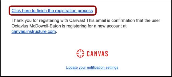 Finalizar el proceso de registro