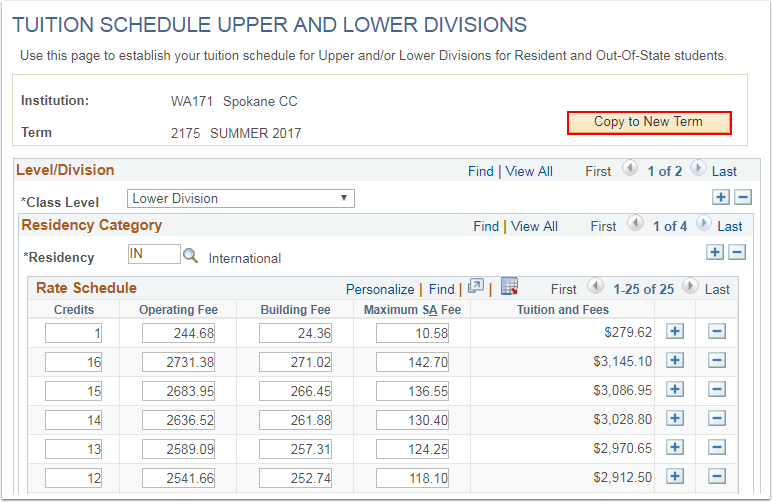 Tuition Schedule Upper and Lower Divisions page Copy to New Term button
