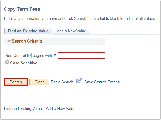 Copy Term Fees Find an Existing Value tab