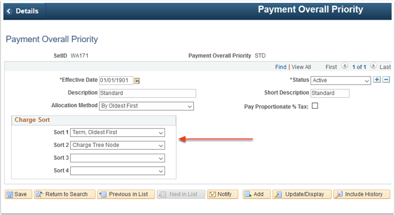 Payment Overall Priority page